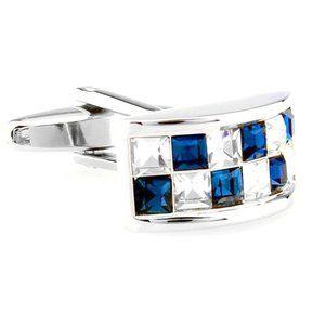NEW Blue & Diamond Crystal Design Cufflinks